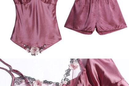 Women's Sleeveless Cami Shorts Pajama Sets Details 3